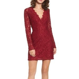 Wayf Nordstrom red lace mini dress long sleeves